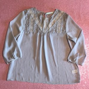 Maurices Sheer Lace Embroidery Blouse Top